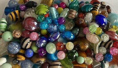 600 Grams~Assorted Mixed Colours & Sizes~Foil, Lampwork,Glass,Beads**UK SELLER** • 12.99£