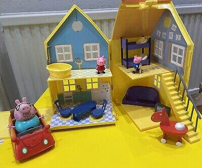 Peppa Pig Fold Away Carry House/Home, Figures George, Daddy Pig, Family Car VGC • 2.99£