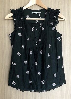 AU24 • Buy URBAN OUTFITTERS Kimchi Blue Black Floral Frill Silk Blouse Babydoll Top Size XS