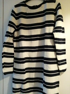 Autograph/  Marks And Spencer Long Top/tunic Size 12, Black And White Stripe • 1£