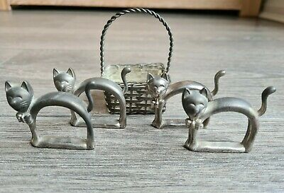 £10 • Buy 4 Silver White Metal Cat Napkin Holder Rings With Basket