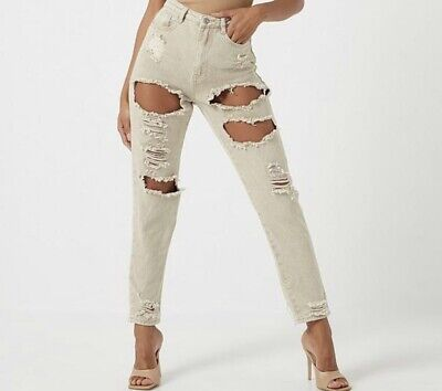 Miss Guided Tall Riot High-rise Extreme Ripped Mom Jeans Stone Size 12 • 9.99£