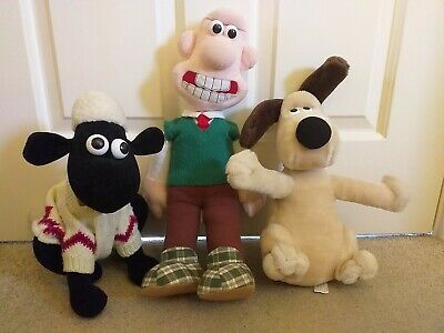 Large Wallace, Gromit & Shaun The Sheep Soft Plush Toy Aardman 1989 • 9.99£