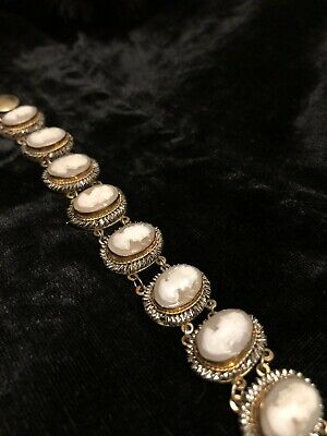 Vintage Neo Classical Revival Giuliano Fratti Milano Carved Shell Cameo Bracelet • 38£