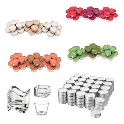 IKEA Glimma Tea Light Candles Unscented And Candle Scented Glass Holder 4 Hour • 7.98£