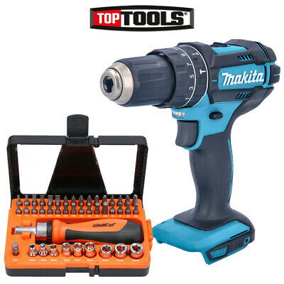 Makita DHP482 18V 2-Speed Combi Drill With 44 Pcs Multipurpose Accessories Set • 69.99£