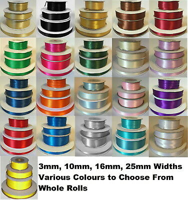 Reel Of Quality 3mm 10mm 16mm 25mm, 38mm, 50mm Double Sided Satin Ribbon Roll • 2.99£