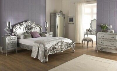 Silver Antique French Style Bedroom Furniture Set • 990£