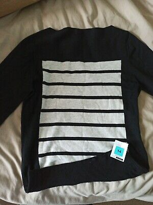 Women Ladies Top Size 14 Marks And Spencer M&S Black Work Smart Jumper Autograph • 2.20£