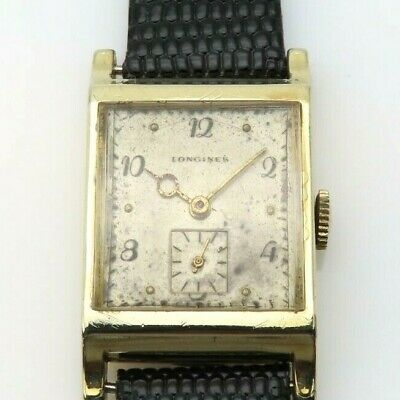 $ CDN198.22 • Buy Vintage 1940s Longines Gold Filled Watch 9L Curved Lug Tanq Style Sunken Seconds