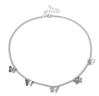 New Boho Festival Indie Butterfly Silver Choker Necklace Comes In Gift Bag • 5.99£
