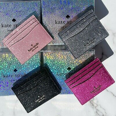 $ CDN41.65 • Buy Kate Spade Cameron Lola Slim Card Holder Wallet Leather Grand Flora Pink Glitter