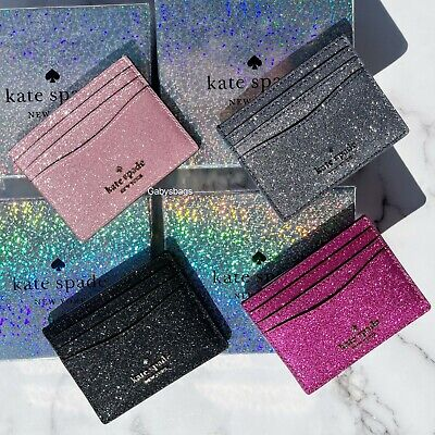 $ CDN41.59 • Buy Kate Spade Cameron Lola Slim Card Holder Wallet Leather Grand Flora Pink Glitter