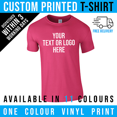 Personalised Custom Printed T Shirts Gildan T-Shirt Men Stag  Charity Logo Text • 9.95£