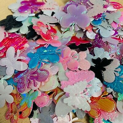 Fabric Butterfly Embellishments 25g Bag Over 450 Pieces • 3£