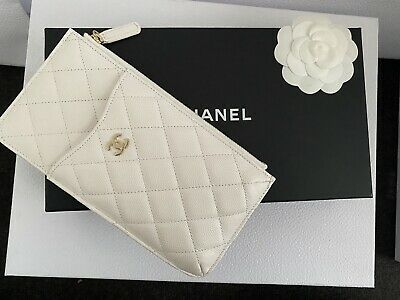 AU1300 • Buy Chanel Iphone Phone Flat Pouch Wallet White Caviar