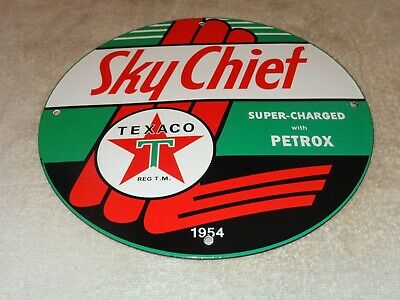 $ CDN200.48 • Buy Vintage 1954 Texaco Sky Chief Super! 11 3/4  Porcelain Metal Gasoline & Oil Sign