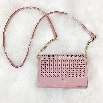 $ CDN71.85 • Buy Kate Spade Womens Pink Leather Chain Purse Laser Cut Front