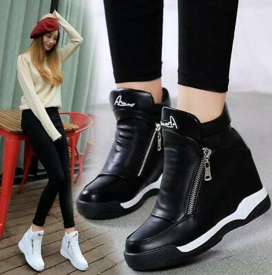 Womens Hidden Wedge Heel Trainers Casual High Tops Sports Sneakers Travel Shoes • 15.99£