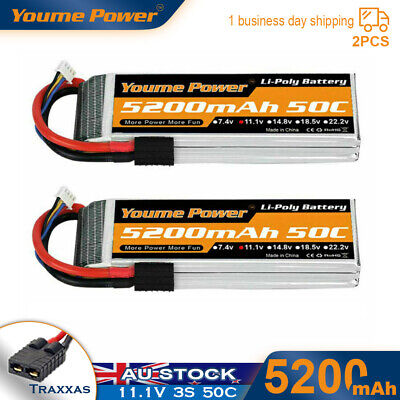 AU89.99 • Buy 2pcs 11.1V 3S 5200mAh LiPo Battery 50C Traxxas For RC CAR Truck Airplane FPV