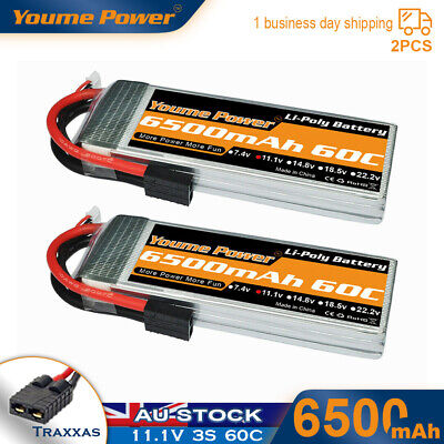 AU101.46 • Buy 2pcs 11.1V 3S 6500mAh LiPo Battery 60C Traxxas For RC Car Helicopter Quad Boat