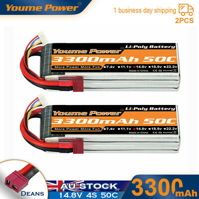 AU81.30 • Buy 2pcs 14.8V 4S 3300mAh LiPo Battery 50C Deans For RC Car Helicopter Airplane Quad