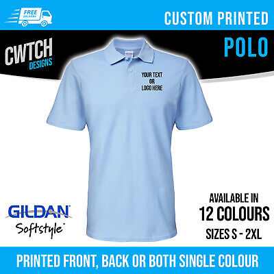 Printed Polo Shirts Personalised Custom Gildan Unisex Men Women T Shirt S-2XL • 10.95£