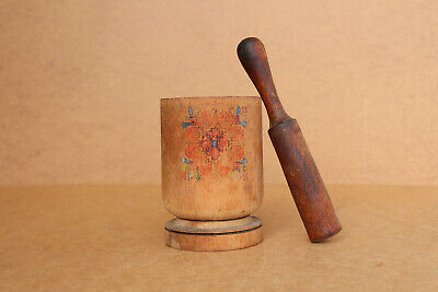 $ CDN52.73 • Buy Old Antique Primitive Wooden Wood Pounder Mortar With Masher Pestle Early 20th