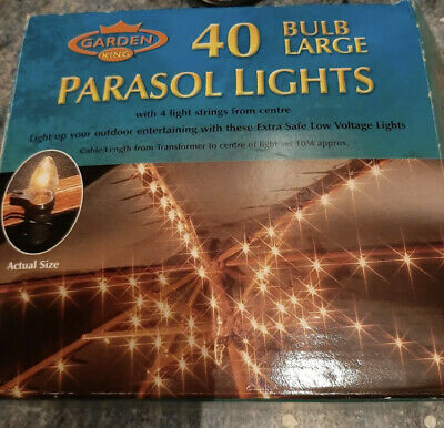 Garden King 40 Parasol Lights Indoor Or Outdoor With Uk Plug Fit  Used But Good • 2£
