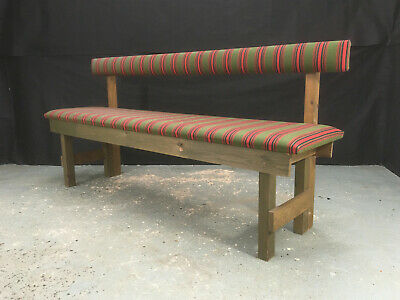 EB986 Danish Pine & Red & Green Striped Wool Hall Bench Vintage Seating • 150£