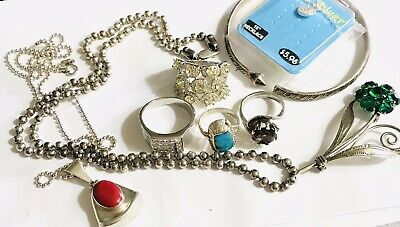 $ CDN112.32 • Buy Mixed Lot Sterling Silver Bead Ball  Necklace Rings Brooch Barse Mexico Italy