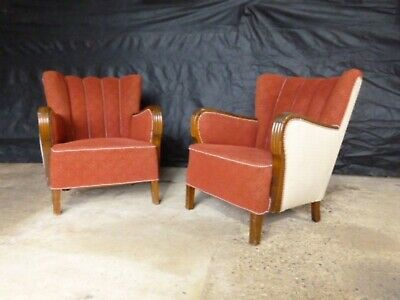 EB559 Pair Of Stained Beech And Maroon Wool Lounge Chairs Vintage Danish Retro • 275£
