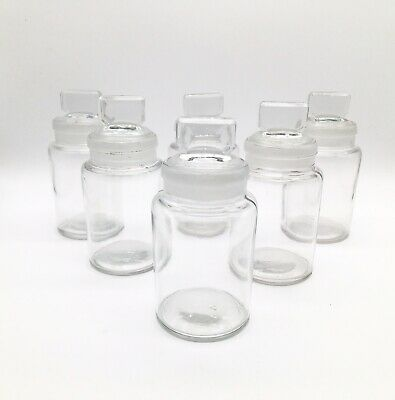 6 VINTAGE GLASS APOTHECARY JARS - With Frosted Glass Lids ~ Spices ~ Herbs • 14.99£