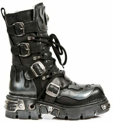 £159.99 • Buy New Rock 107-s2 Black Silver Skull Full Devil Metallic Goth Style Leather Boots