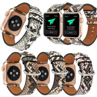 $ CDN15.56 • Buy For Apple Watch Series 6 5 4 3 2 1 Snake Skin Faux Leather IWatch Band Straps