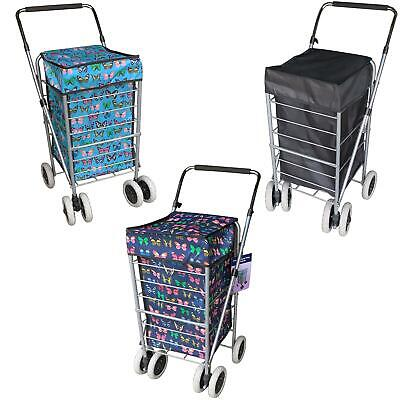 6 Wheels Foldable Shopping Trolley Cart Grocery Folding Market Laundry Bag • 29.99£
