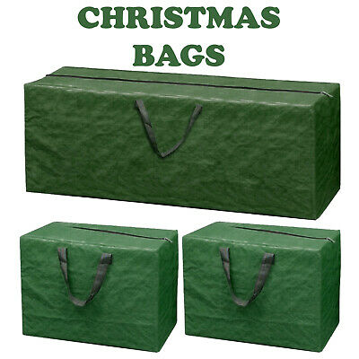 3 X LARGE CHRISTMAS STORAGE ZIP BAGS TREE DECORATIONS LIGHTS HANDLES XMAS SACK • 8.95£