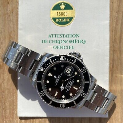 $ CDN15113.97 • Buy Rolex Submariner Réf 16800 With 1985 Original Papers