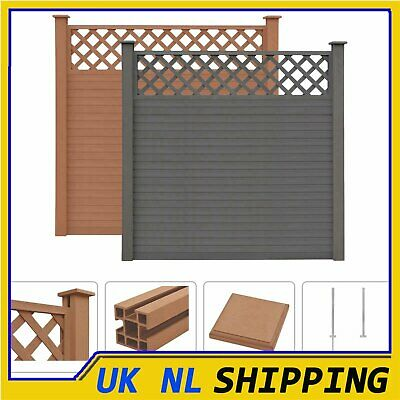 UKING WPC Fence Set Outdoor Garden Panel Lawn Border Posts Square Multi Choice • 116.29£