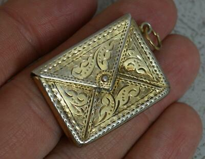 1906 English Solid Silver Stamp Envelope Case Holder Pendant With Gilt Finish • 129.95£