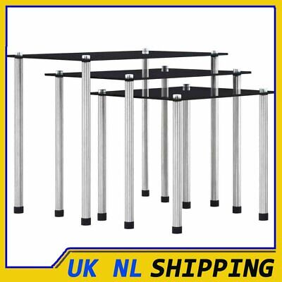 UKING Modern Nest Of 3 Tables Coffee Table Side End Table Home Living Room Black • 43.59£