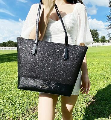 $ CDN143.99 • Buy Kate Spade Lola Joeley Glitter Penny Large Top Zip Tote Handbag Black