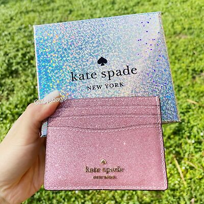 $ CDN42.74 • Buy Kate Spade Lola Joeley Glitter Card Holder Wallet Rose Pink Gift Box