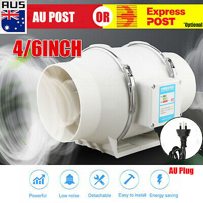 AU37.59 • Buy Low Noise 4/6 Inline Duct Fan Hydroponic Extractor Fan Vent Exhaust Air Blower C
