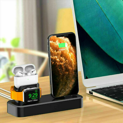 AU19.88 • Buy AU Silicone Charger Charging Dock Stand 3in1 For IWatch IPhone 12 Pro 11 XS XR 8