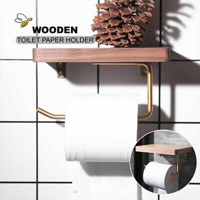 AU33.99 • Buy Wooden Toilet Paper Roll Holder Phone Shelf Industrial Floating Bathroom DIY AU