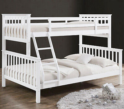 Triple Bunk Beds Double Bed With Stairs For Kids Children White Wooden Bed Frame • 235.99£