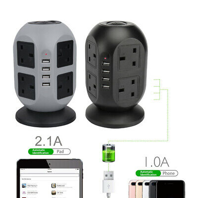£20.59 • Buy 8 Way Extension Lead Cable Surge Protected Tower Power Socket 4 USB Port UK Plug