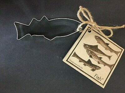 FISH Cookie Cutter Tin Plated Steel With Recipe Card USA Cabin Lodge Ann Clark  • 4.38£