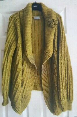 Ladies WALLIS Mustard Long Sleeve Cardigan With Corsage, No Fastening Size 14  • 10£